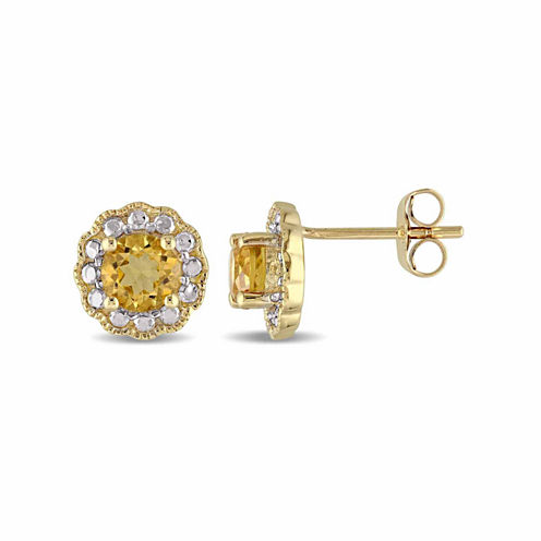 Round Yellow Citrine 10K Gold Stud Earrings