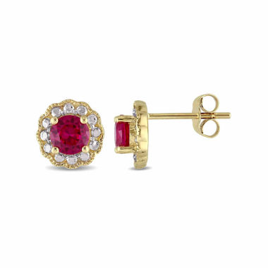 jcpenney.com | Round Lab-Created Red Ruby Stud Earrings in 10K Gold