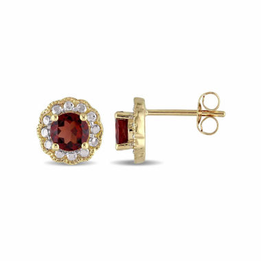jcpenney.com | Round Red Garnet 10K Gold Stud Earrings