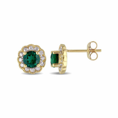 jcpenney.com | Round Green Emerald 10K Gold Stud Earrings