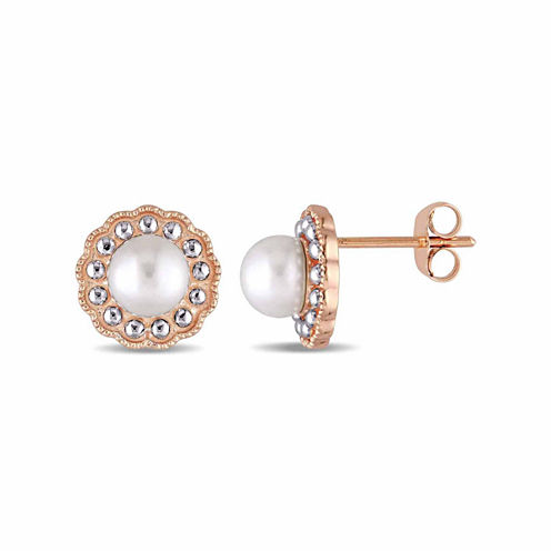 Round White Pearl 10K Gold Stud Earrings