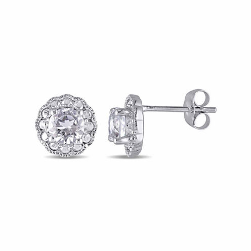 Round White Topaz 10K Gold Stud Earrings