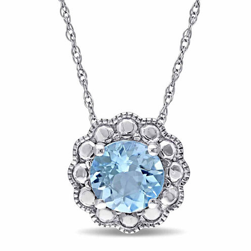 Womens 17 Inch Blue Topaz 10K Gold Link Necklace