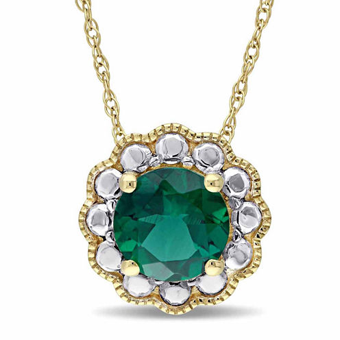 Womens Lab Created Emerald 10K Gold Pendant Necklace