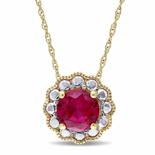 Womens 17 Inch Red Lab Created Ruby 10K Yellow Gold Pendant Necklace