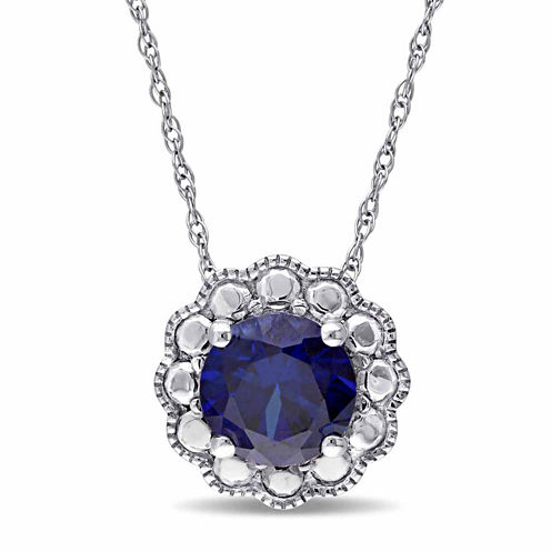 Womens 17 Inch Blue Sapphire 10K Gold Link Necklace