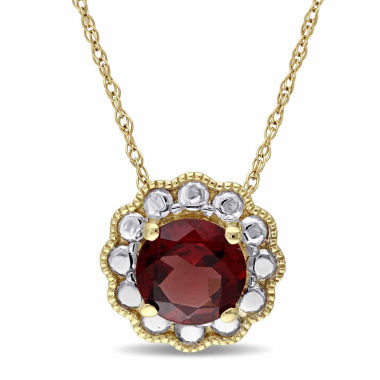 jcpenney.com | Womens 17 Inch Red Garnet 10K Gold Link Necklace