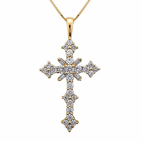 1 1/2 CT. T.W. Certified Diamond 14K Yellow Gold Cross Pendant Necklace