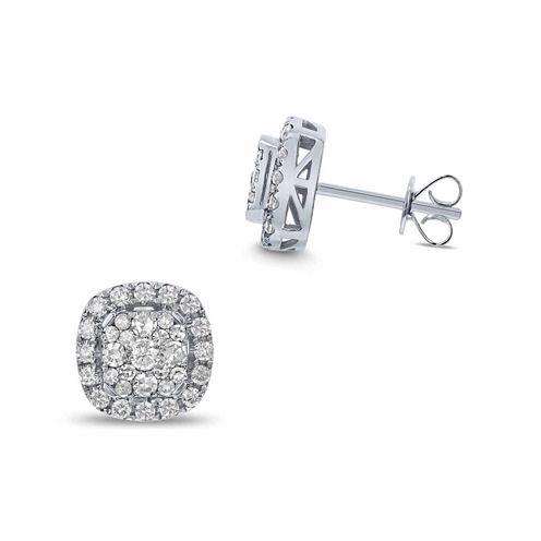 1 CT. T.W. Round White Diamond 14K Gold Stud Earrings