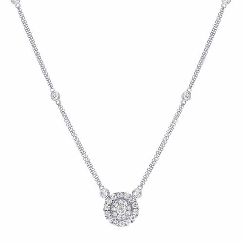 Womens 1 CT. T.W. White Diamond 14K Gold Pendant Necklace