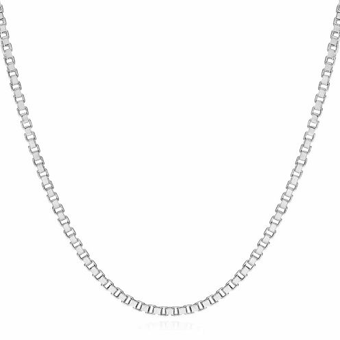 """Made in Italy 14K White Gold 1.4mm Venetian 20"""" Box Chain Necklace"""