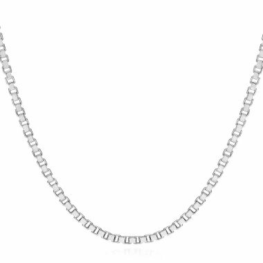 "jcpenney.com | 14K White Gold 1.4mm Venetian 24"" Box Chain Necklace"