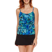 Jamaica Bay® Photo Leaf Triple-Tier Ruffle Tankini Swim Top or Side-Slit Swim Skirt