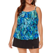Jamaica Bay® Photo Leaf Triple-Tier Swim Top or Side-Slit Swim Skirt