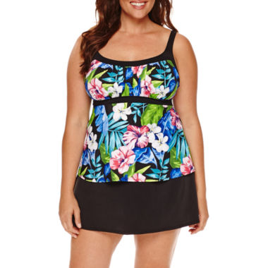 jcpenney.com | Jamaica Bay® Tropical Framed Peasant Tankini or Shaping Tricot Swim Skirt