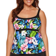 Jamaica Bay® Vintage Tropical Frame Peasant Tankini Swim Top - Plus