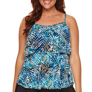 jcpenney.com | Jamaica Bay® Muted Reptile Triple-Tier Swim Top
