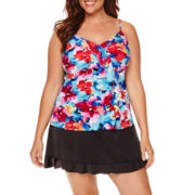Jamaica Bay® Pretty Pleats Diagonal Ruffle Tankini Swim Top or Ruffle Hem Skirt Swim Bottoms