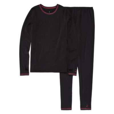 cuddl duds 2pc black solid pajama set girls 416