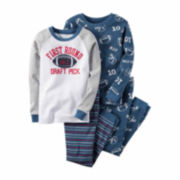Carter's® 4-pc. Blue Football-Print PJ Set - Boys 4-8