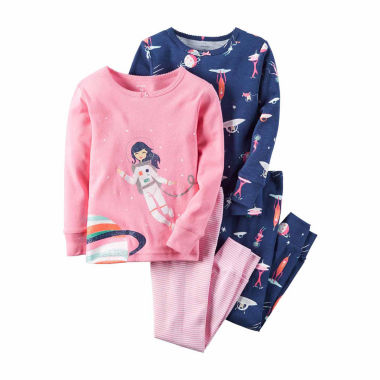 jcpenney.com | Carter's® 4-pc. Pink Navy Space Pajama Set - Girls 4-8