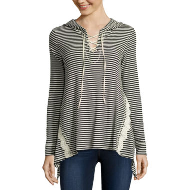 jcpenney.com | Rewind Long-Sleeve Ribbed Lace-Up Hoodie - Juniors