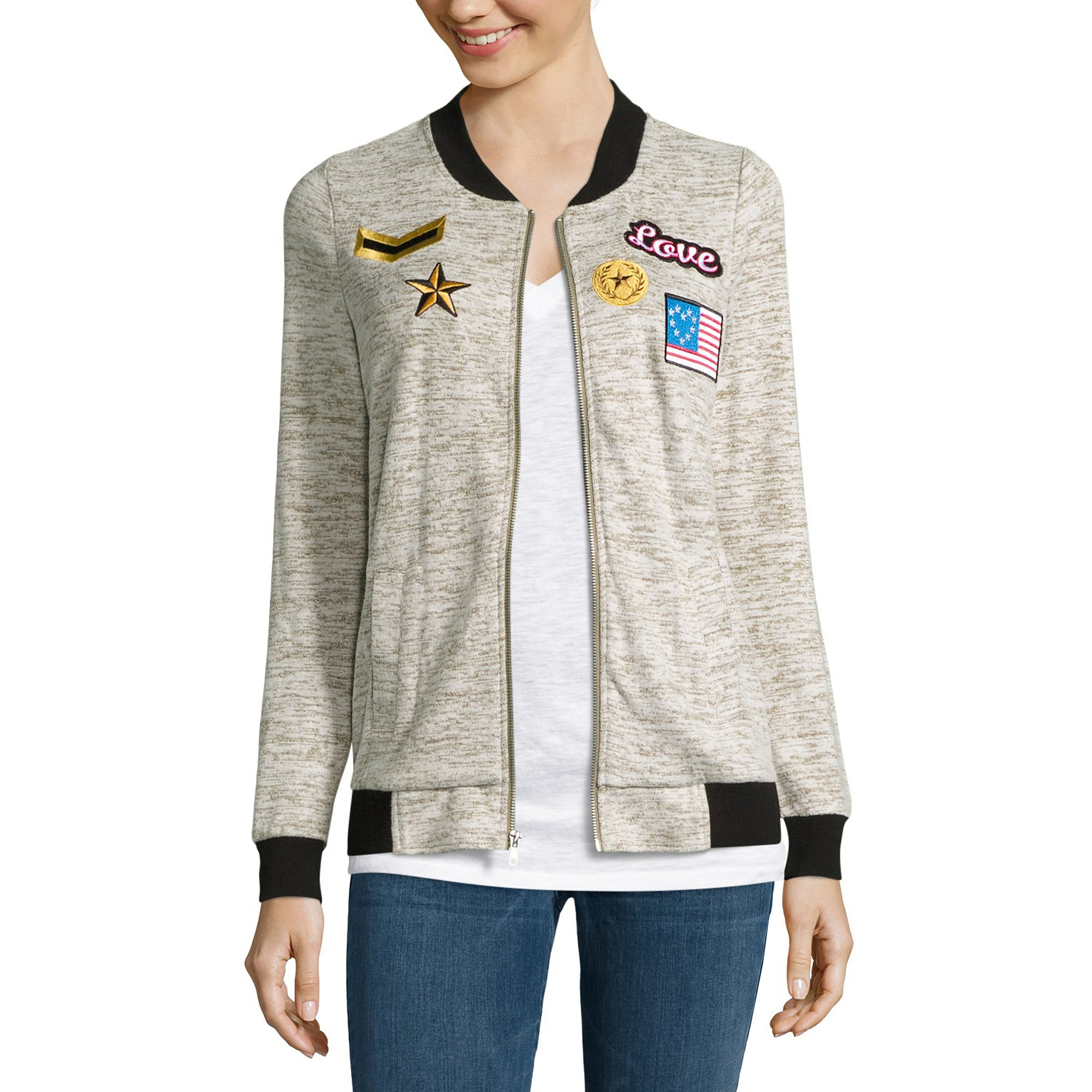Miss Chievous Miss Chevious Long Sleeve Patch Bomber Jacket Juniors | Coat, Jacket and Clothing