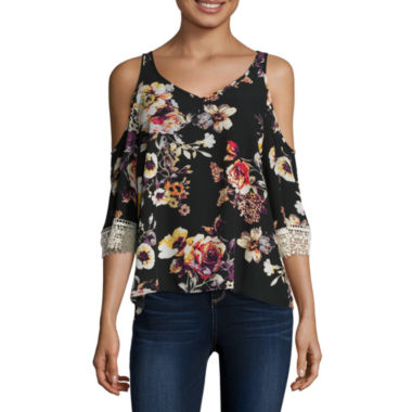jcpenney.com | Eyeshadow 3/4-Sleeve Floral-Print Cold-Shoulder Top - Juniors