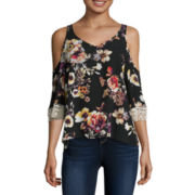 Eyeshadow 3/4-Sleeve Floral-Print Cold-Shoulder Top - Juniors