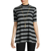 by&by Elbow-Sleeve Striped Ribbed Knit Swing Top with Necklace