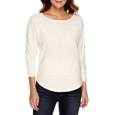 jcpenney.com | a.n.a® Long-Sleeve Novelty Stitch Sweater - Petite