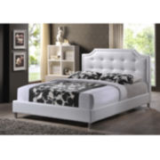 Baxton Studio Carlotta Modern Bed with Upholstered Headboard