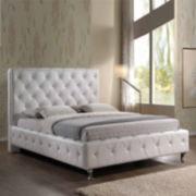 Baxton Studio Stella Modern Crystal-Tufted Upholstered Bed