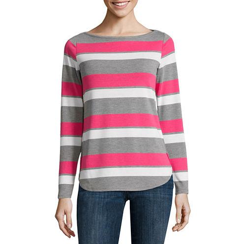 Liz Claiborne® Long-Sleeve Envelope-Hem Stripe Top