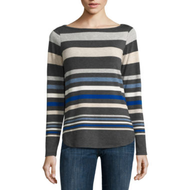 jcpenney.com | Liz Claiborne® Long-Sleeve Envelope-Hem Stripe Top