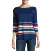 Liz Claiborne® 3/4-Sleeve Border Stripe Tee