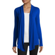 Liz Claiborne® Long-Sleeve Rib-Trim Open Cardigan