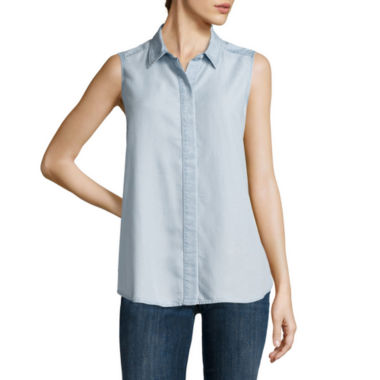 jcpenney.com | Liz Claiborne® Sleeveless Chambray Button-Front Blouse