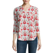 Liz Claiborne® 3/4-Sleeve V-Neck Top
