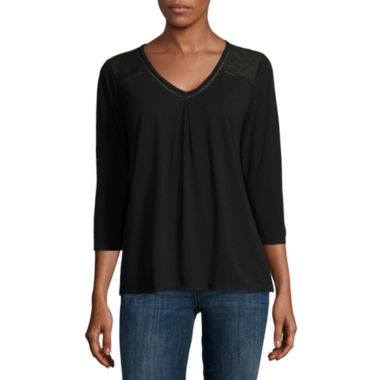 jcpenney.com | Liz Claiborne® 3/4-Sleeve Mixed Media Tee