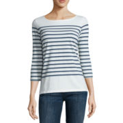 Liz Claiborne® 3/4-Sleeve Button-Back Stripe Tee