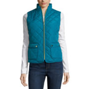 St. John's Bay® Quilted Puffer Vest - Petite