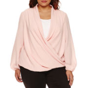 Bisou Bisou® Long-Sleeve Twist-Front Blouse - Plus