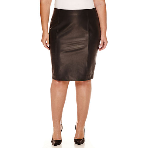 Boutique+ Faux-Leather Pencil Skirt - Plus