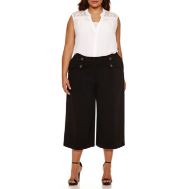 jcpenney.com | Boutique+ Lace-Back Button-Front Shirt or Flared Sailor Cropped Pants - Plus