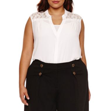 jcpenney.com | Boutique+ Sleeveless Lace-Back Button-Front Shirt - Plus
