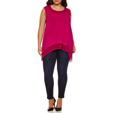 jcpenney.com | Boutique+ Sheer Hem Tank Top or High-Rise Skinny Jeans - Plus