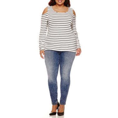 jcpenney.com | Boutique+ Cold-Shoulder Knit Top or High-Rise Skinny Jeans - Plus