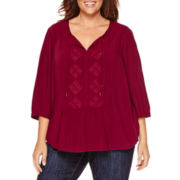 Liz Claiborne® 3/4-Sleeve Spiltneck Peasant Top - Plus