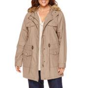 Liz Claiborne® Fur-Trim Relaxed Anorak Jacket - Plus